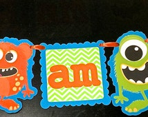 I AM ONE monster banner for High Chair/Monster First Birthday/Colorful/Monster Theme