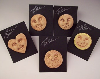 Smiling Faces Brooches, Fun Jewelry, Happy Face Pins, Wearable Sculpture, Hand-built Originals to Wear, Light Spirits, Faces, Owl