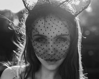 Black Cat Ears Headband Lace Bunny Ears Headband Veil Ariana Grande ears black fascinator veil black cat ears masquerade ball ear