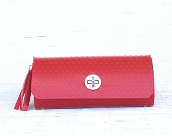 Exclusive womens wallet red wallet smartphone clutch vegan handmade bag organiser purse