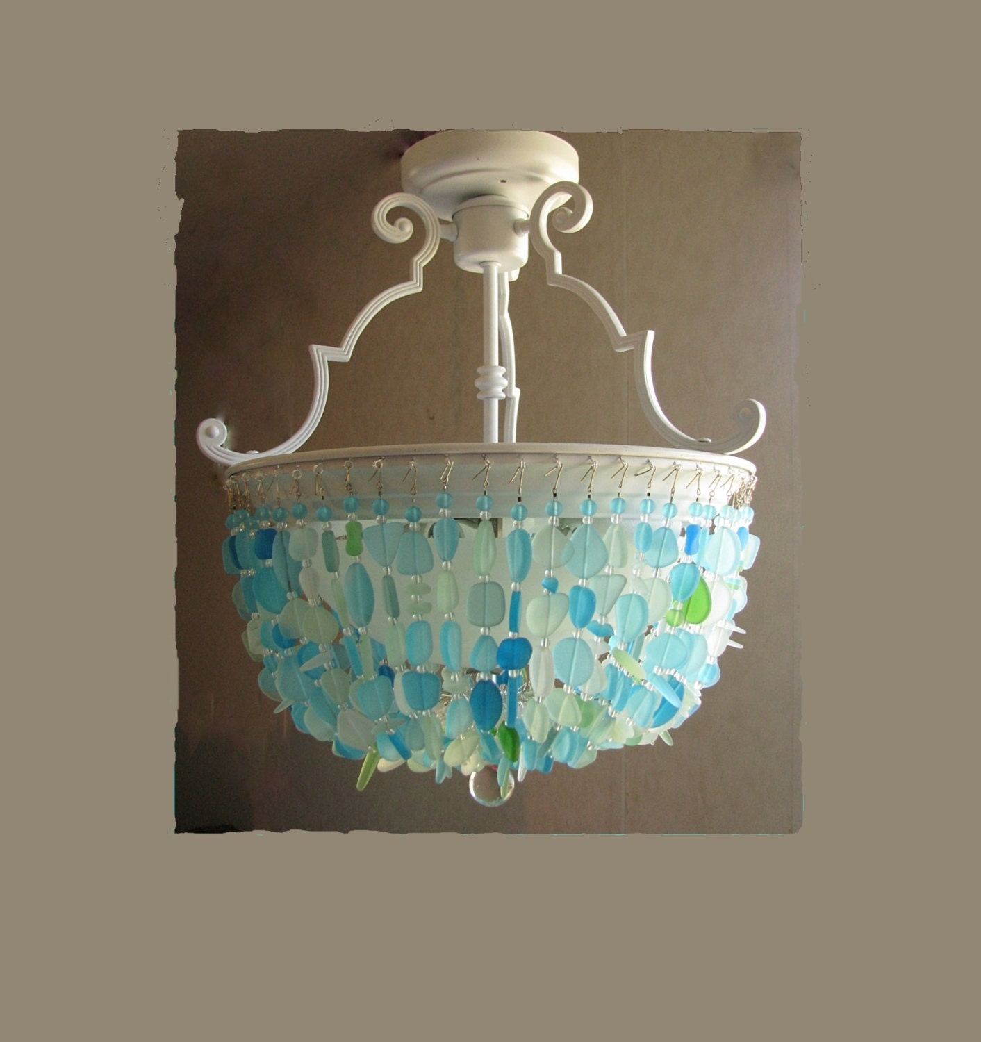 Sea Glass Chandelier Semi Flush Mount By Coastalradiancelites