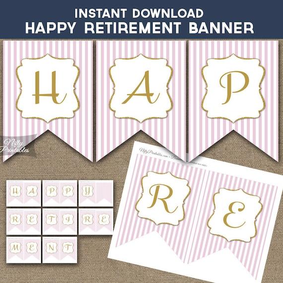 Retirement Banner Printable Happy Retirement Banner Pink &