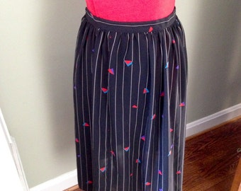 Black Striped Skirt with Geometric Triangles, Side Button closure, No zipper.