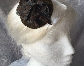 Tweed fascinator, Tweed headpiece, Tweed comb
