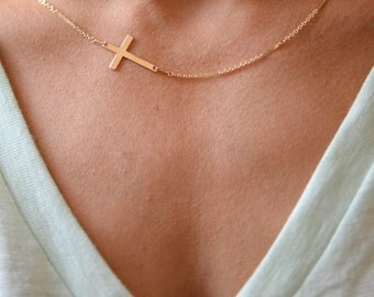 Horizontal Gold Cross on Shimmer Chain // Gold Cross Necklace // Sideways Cross Necklace