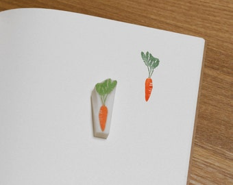 Carrot rubber stamp. Cute vegetable hand carved stamp. Handmade stamp. Unmounted stamp.