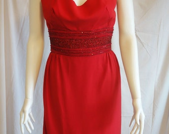 Vintage Red Beaded Wiggle Dress/ Embellished/Zipper Back/ Size Small/ 1970's