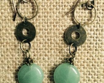 Green adventurine coin drop earrings