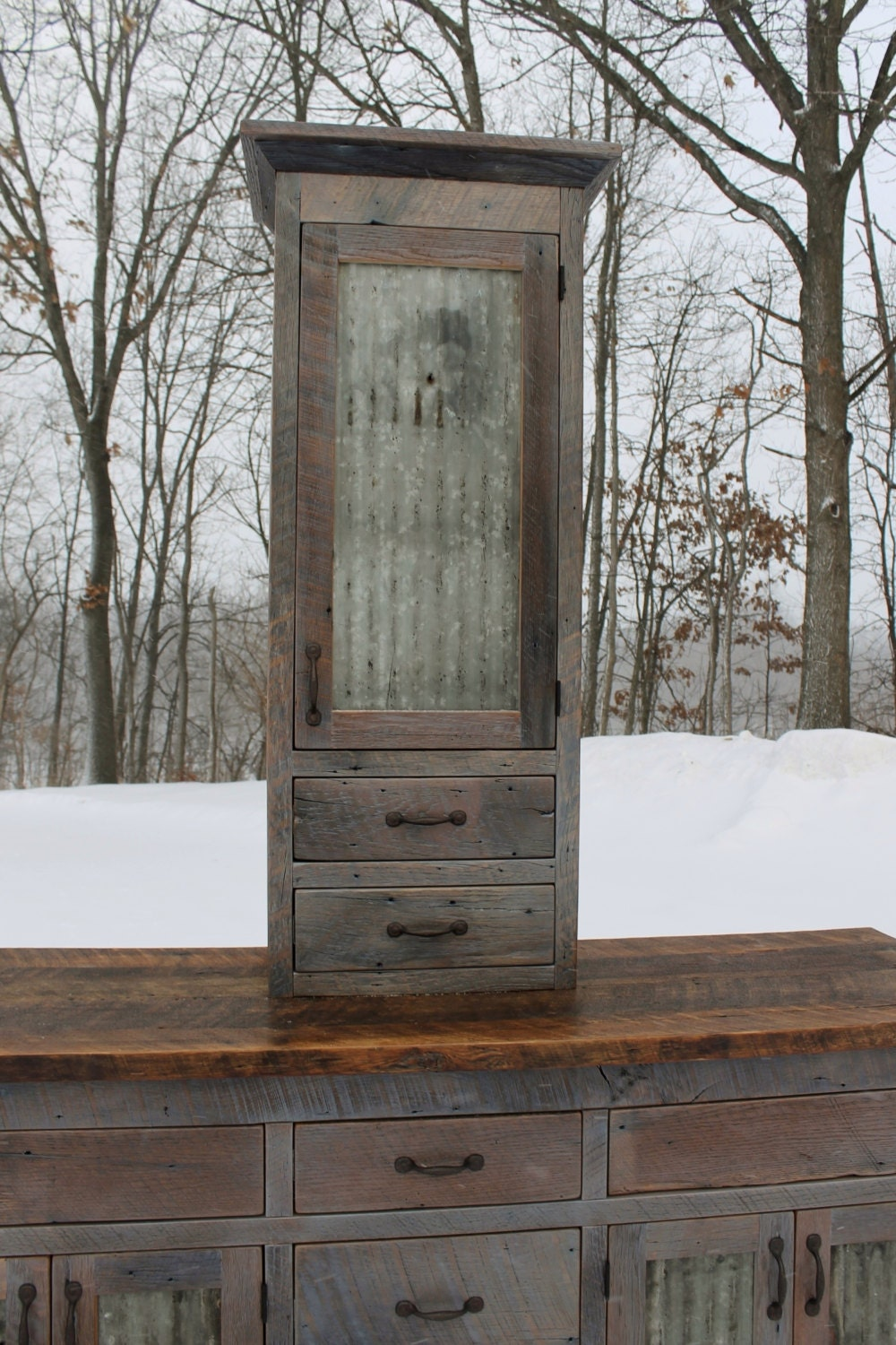 Rustic Vanity Linen Cabinet Reclaimed Barn Wood Weathered