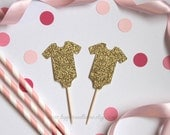 Onesie Baby Shower Cupcake Toppers - Set of 12 (glitter onesies. Perfect for baby shower or gender reveal parties)