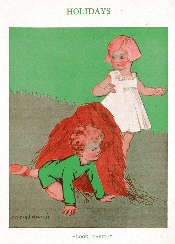 1930s print of illustration by Muriel Harris, young boy and girl playing in bale of hay, holiday fun, matted for framing, 8 x 10 inches