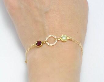 Birthstone bracelet, Personalized bracelet, Couple bracelet, Mother bracelet, Bridesmaid bracelet, Bridesmaid jewelry