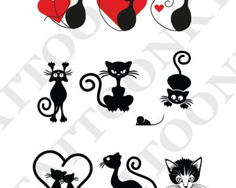 Hearts and cats tattoo pack of 9. Temporary tattoos. Party fake tattoo