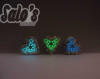 FREE SHIPPING Silver Glow in the dark heart locket (choose between 3 colors)