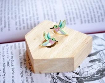 Geometric Hummingbird Earrings