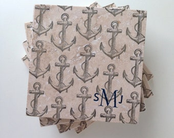 Personalized Anchor Coasters, Nautical Wedding Gift, Nautical Tile Coasters, Anchor Housewarming Gift, Beach House Coasters