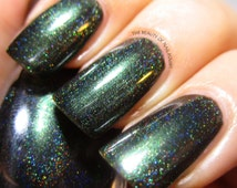 Black Forest - Hunter Green Holographic Nail Polish - Dark Forest Green Nail Polish with Spectraflair - Snow White Winter 2014-15 Collection