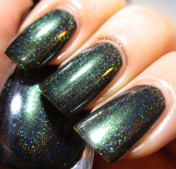 Dark Holographic Nail Polish: Items Similar To Black Forest