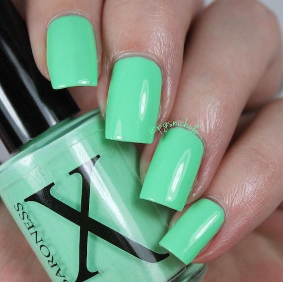 Santa Monica Mint Minty Green Neon Creme Nail Polish By