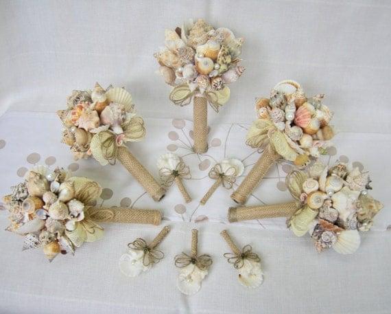 5 Sea Shell Bouquets Boutonnieres Bridal Bouquet