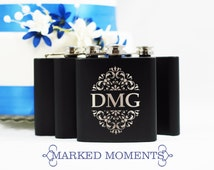 Engraved Black Flask with Three Letter Monogram Great for Groomsmen 21st Birthday Bridesmaids Father's Day GARDEN BOLD Design