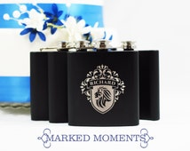 Engraved Black Flask Personalized with Single Name Great for Groomsmen Best Man 21st Birthday Bridesmaids Father's Day CREST Design