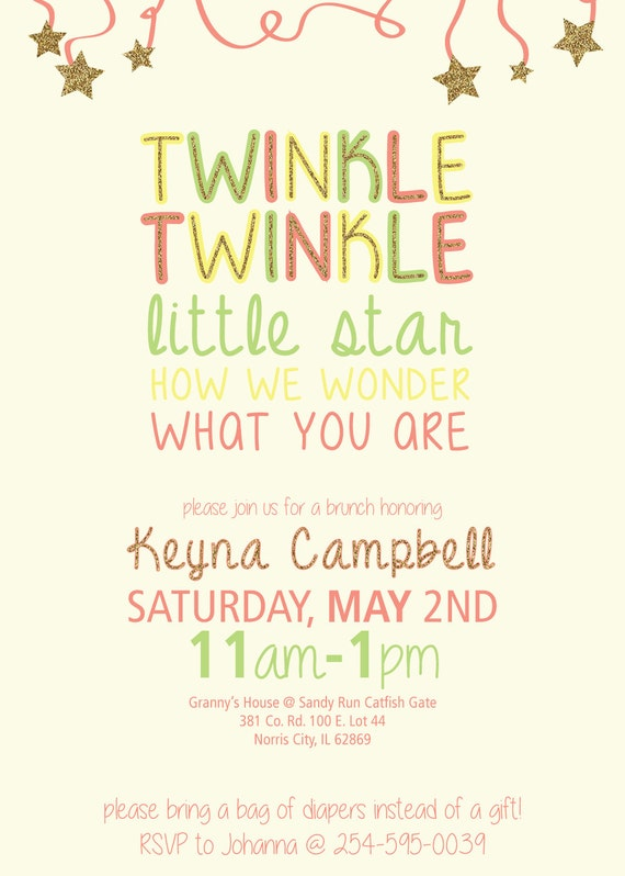 Twinkle Twinkle Little Star Unisex or Gender Reveal Baby Shower invitation