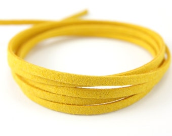 3mm Suede Leather Cord, 5mt 10mt 20mt 50mt Faux Suede Cord, Yellow Suede Leather Cord, 3mm Flat Faux Leather, Leather Suede Cord Findings