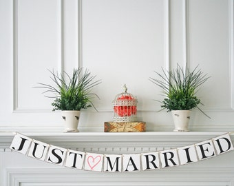 Just Married Banner - Just Married Sign - Wedding Decoration - Just Married Car Sign - Wedding Photo Prop