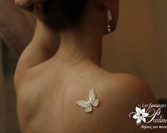 Bijou de peau mariage papillon voile brodé - Bridal butterfly skin jewel