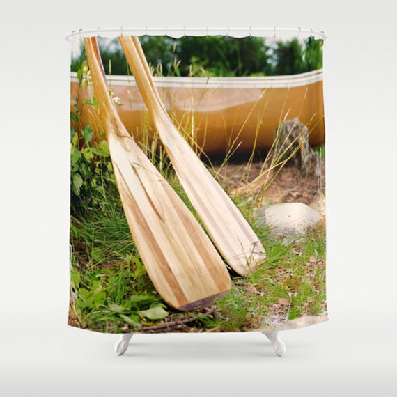 Shower Curtains, Canoe Paddles, Still Life Photography, Canoe Images, Green Gold, Outdoor Photo, Boundary Waters, Camping Photograph, BWCA