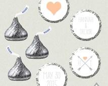 Hershey Kiss Labels, Arrow Wedding Kisses, Printable Hershey Kiss stickers, Wedding Kiss Favors, Tribal Wedding, Hearts and Arrows Kisses