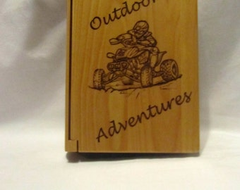 "Personalized Wood Photo Album ""Outdoor Adventures"" - Small"