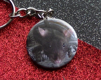 Rat Keychain Rodent Adorable Black Berkshire Fancy Rat Keychain - Metal Keychain - Rat Accessories