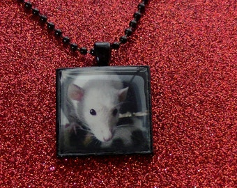 Rat Necklace Rodent Sweet Faced Masked White Dumbo Rat Necklace - Black Resin Metal Square Pendant Necklace - Rat Jewelry- MADE TO ORDER!
