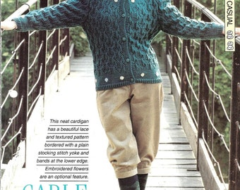"""Knitting pattern - Woman's """"Cable Crossing"""" cardigan - Instant download"""