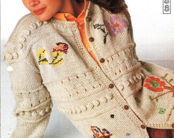 "Knitting pattern - Woman's ""Sampler Style"" cardigan - Instant download"