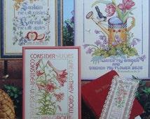 Bible Verse Cross Stitch Pattern Book/Cross Stitch Biblical Garden  Linda Gillum & Donna Vermillion Giampa/old and new testaments,apocrypha