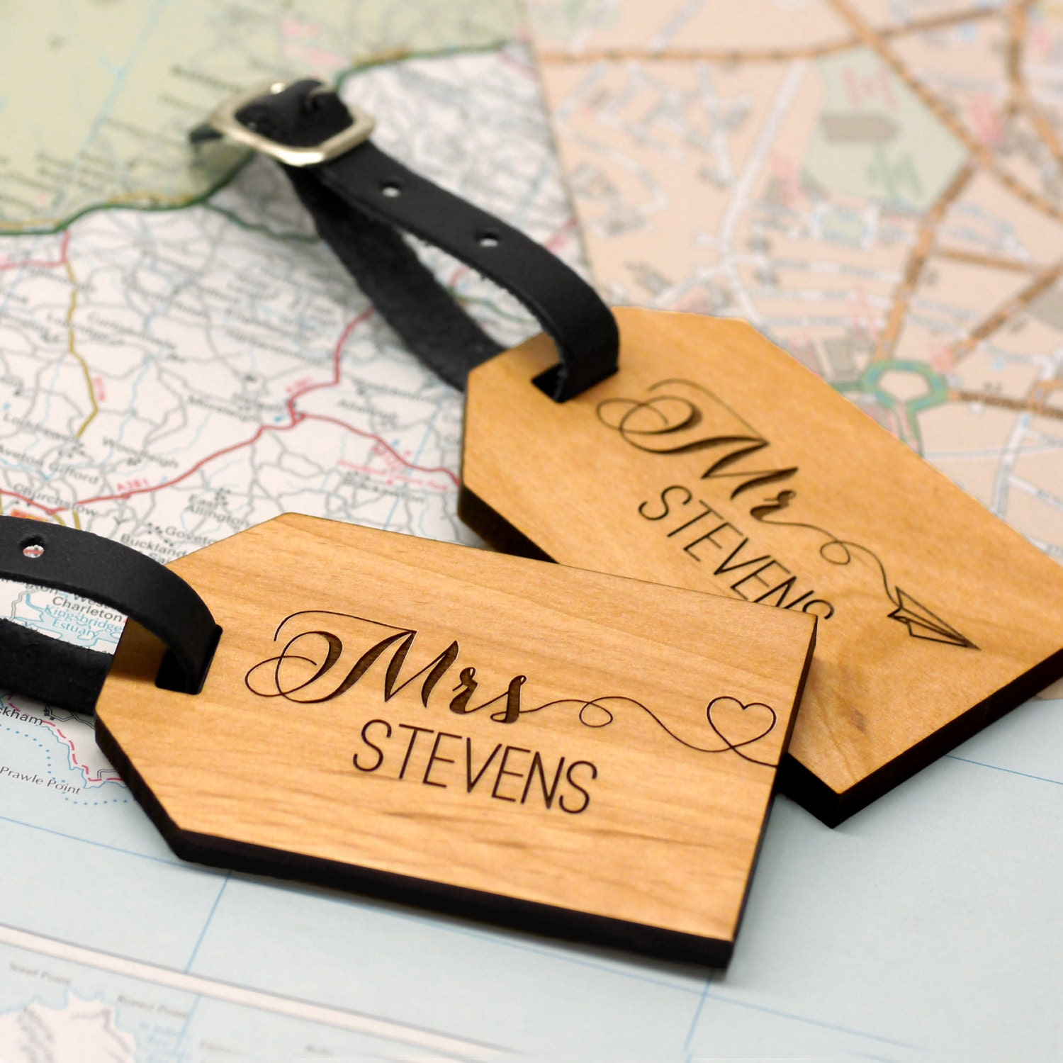 Personalised Luggage Tags Wedding Gift : Mr and Mrs Luggage Tags Wedding Gift by mariaallenboutique on Etsy