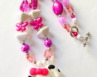 Dalmation necklace dalmation puppy necklace puppy necklace puppy jewelry girls puppy necklace toddler girls Valentine's day gift for girls