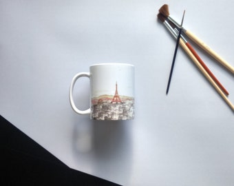 Personalized mug with watercolor drawing with Paris landscape