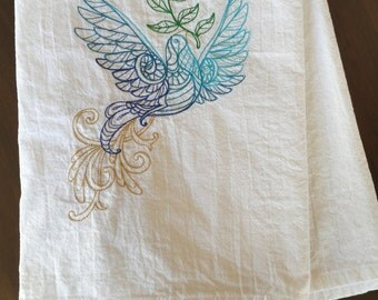 Christmas Dove Embroidered Flour Sack Towel Blues and Gold - Ready to Ship