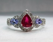 1 ctw Ruby Tanzanite & Diamond Unique Engagement Ring in White Gold with Free Shipping