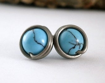Turquoise Stud Earrings Non-Allergenic Pure Titanium Earrings Wire Wrapped Jewelry Handmade Aqua Stone Jewelry Turquoise Jewelry