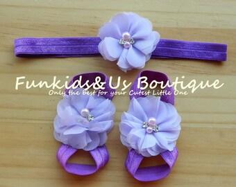 Lavender purple   Baby Barefoot Set -Lavender Set-Baby Flower Sandals, toddler, girl photoprop