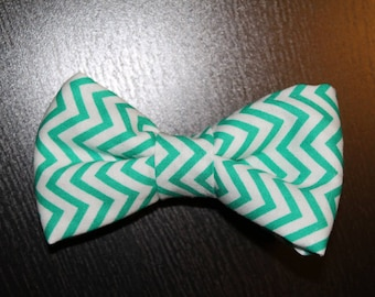 Green and White Chevron ClipOn BowTie Suitable for Infant/Toddler/Kid/Teen/Adult