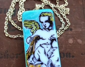 "Upcycled Alcohol Ink ""Angel"" Domino Pendant"