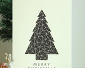 Instant Download   Printable Christmas Card   A Geometric Christmas   Black Geometric Christmas Tree