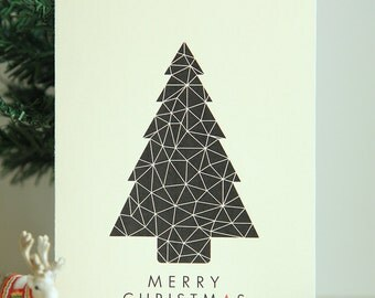 Instant Download | Printable Christmas Card | A Geometric Christmas | Black Geometric Christmas Tree