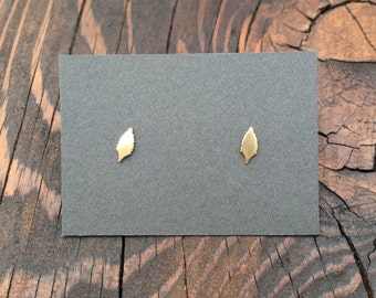 Tiny Leaf Stud Earrings in Gold with Sterling Silver Posts